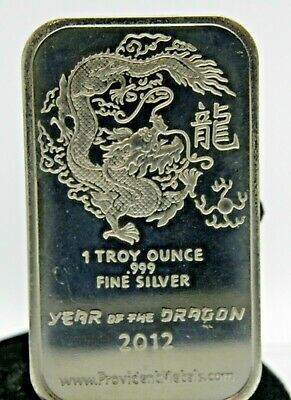 2012     Year Of The Dragon      1Oz      .999 Fine Silver Bar