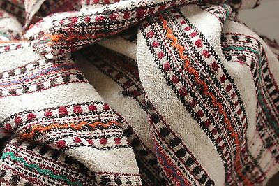 Vintage folk art throw blanket Homespun wool linen hemp cotton plaid textile