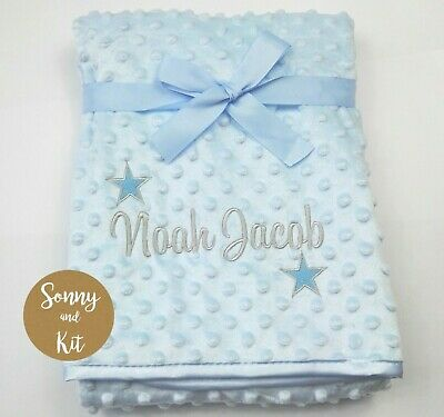 Personalised Baby Boy Name and Stars Blanket, Embroidered New Born Blue Gift