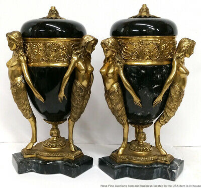 Old Fabulous Pair French Art Nouveau Deco 14.5in Nude Dore Bronze Marble Urns