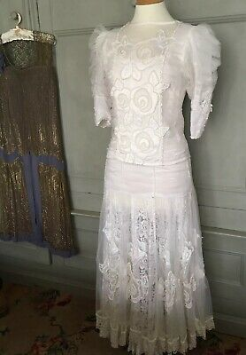 Vintage Boho Gyspy 2 Piece Wedding Dress Lace Beads Gauzy Tiered Steampunk 12