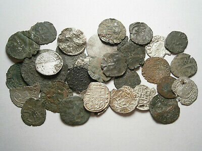 Lot of 33 Medieval Silver and Bronze coins, between 1300 - 1600