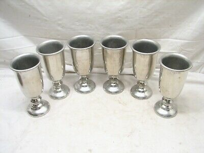 "Set 6 Wilton Armetale Pewter Wine/Water Goblets 7"" Chalice Queen Anne RWP Glass"