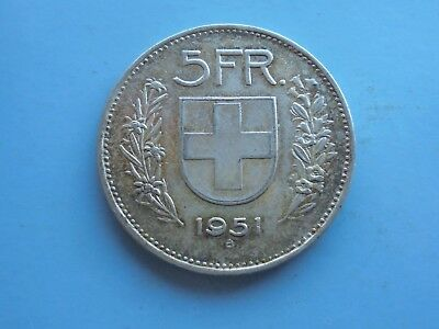 Switzerland, 5 Francs 1951B in Great Condition.