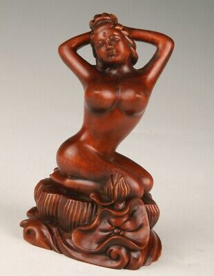 Chinese Boxwood Handmade Carving Belle Art Statue Personality Gift Collection