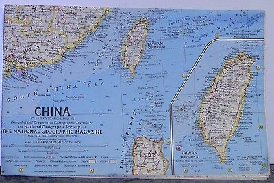 Vintage 1964 National Geographic Map of China