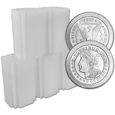100-pc. 1 oz. Silver Round - A-Mark Morgan Stackable .999 - 5 Rolls of 20 AMARK