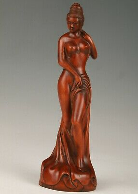 Unique Chinese Boxwood Handmade Carving Belle Art Statue Gift Collection