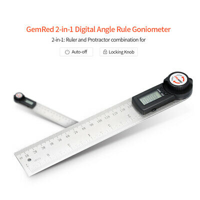 GemRed Digital Display Angle Gauge Finder Clinometer Goniometer Ruler 200mm X4F0