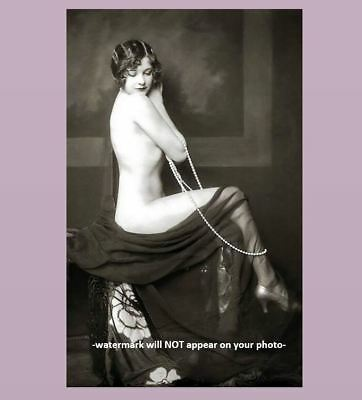 Sexy Nude Ziegfeld Girl PHOTO Art, Flapper Long Strand of Pearls, A C Johnston