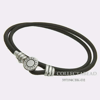 4706c929f Authentic Pandora Silver Black Double Leather CZ Bracelet 13.8