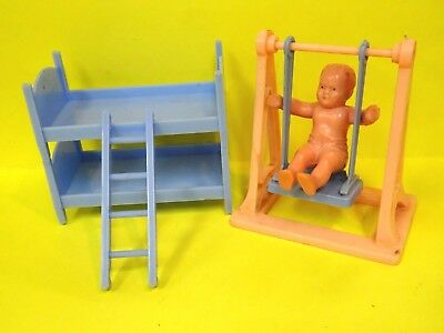 EB/_ 11.5x14cm Mini Plastic Doll House Bunk Beds Kids Gift Toy Accessories Fine