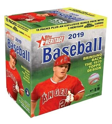 2019 Topps HERITAGE MEGA BOX 15 Packs + 1 CHROME Pack! BONUS 1 HIGH NUMBER CARD