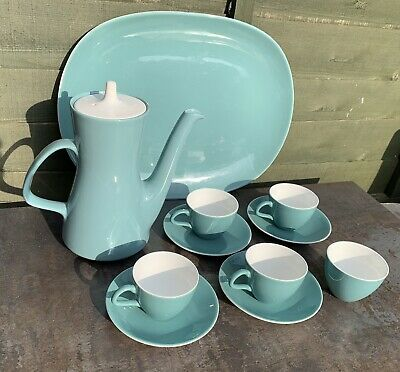 Vintage Poole Pottery Twin Tone Coffee Pot Set Teal & White Cups & Saucers Sugar