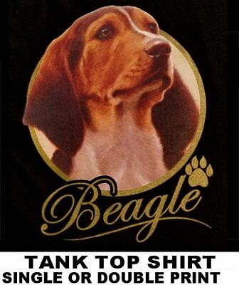 Very Classy Cool Beagle Dog Art With Gold Lettering Dog Tank Top Shirt Xt713