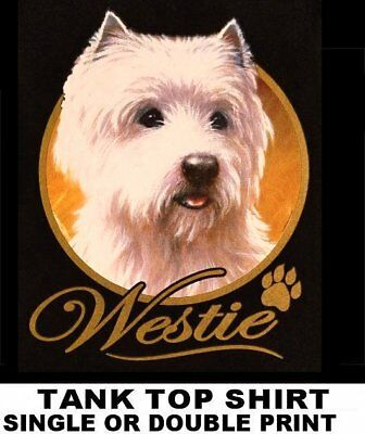 Very Classy Cool Westie Dog Art With Gold Lettering Dog Tank Top Shirt Xt705