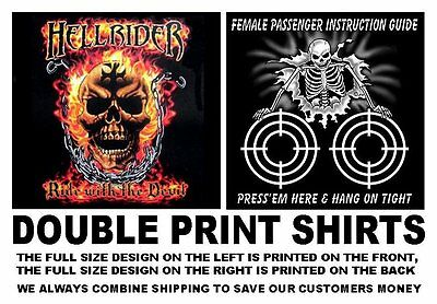 d98af950 Hellrider Ride With The Devil Biker Motorcycle Rider Skull In Flames T-Shirt  W5D