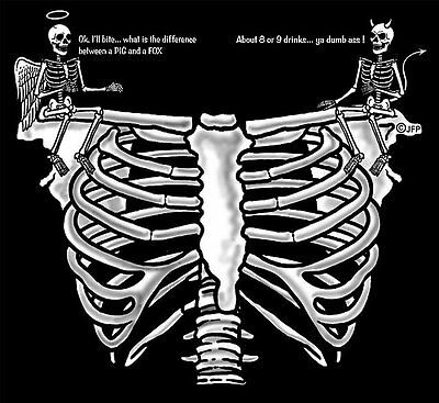 Angel Devil The Difference Between A Pig & Fox Is Alcohol Skeleton Skull T-Shirt