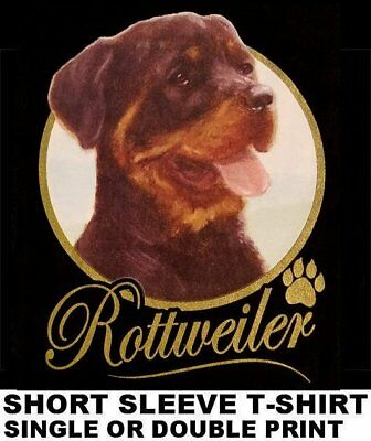 Very Classy Cool Rottweiler Dog Art With Gold Lettering Dog T-Shirt Xt715