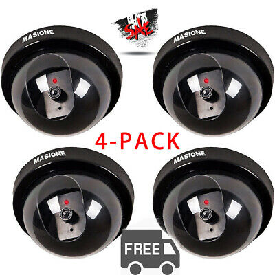 4 Pack Dummy Bullet Dome Surveillance Security Camera Combo- LED Record Light