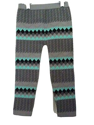 Faded Glory Girls Size 4-6X Ankle Length Leggings-Nwt!-Diamond Design-Aqua/Gray