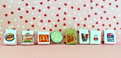 Dollhouse Miniature Take Out Bags - Many Different Fast Food Restaurants 1:12