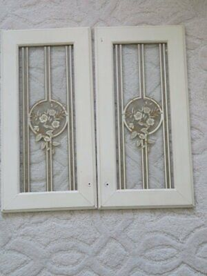 PAIR GORGEOUS Vintage Glass WINDOWS or Doors Stenciled Design Flowers Stripes