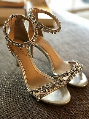 816ec6446612 Jewel Badgley Mischka. Caroline Embellished Ankle Strap Evening Sandal.  SIlver