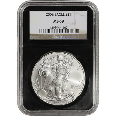 2008 American Silver Eagle - NGC MS69 - 'Retro' Black Core