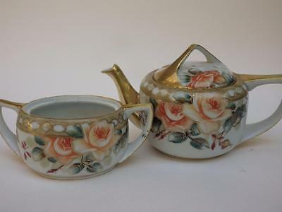 Beautiful Hand Painted NIPPON Tea Pot Moriage Gold Encrusted Roses & Sugar Bowl