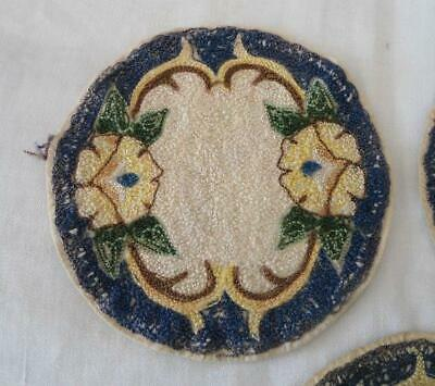Vintage Blue Arts & Crafts Era Embroidered Doilies Coasters Blue Doll House Rug