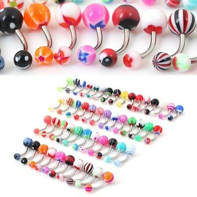 50 x Belly Button Navel Ring Bar Bars Body Piercing Jewellery Rings UK STOCK