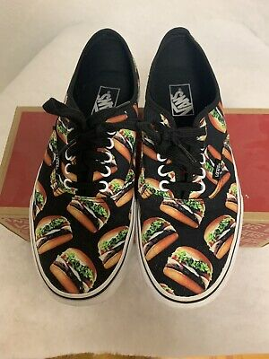 b7b84bbd10 Vans Off the Wall Authentic Late Night Black Hamburgers Skate Shoes Mens 9.5