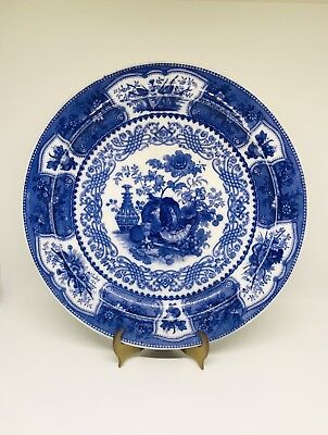 Blue And White Wedgwood Transfer ware Dinner Plate Trophy Pattern Pumpkin Grapes