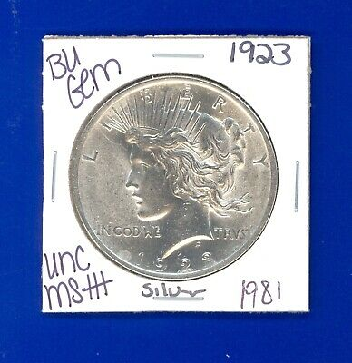 1923 P Bu Gem Peace Silver Dollar Unc Ms+ Genuine U.s. Mint Rare Coin 1981