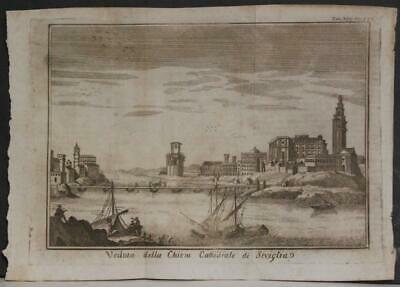 Sevilla The Cathedral Spain 1745 Salmon Unusual Antique Copper Engraved View