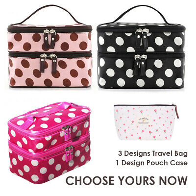 Women Large Make Up Toiletry Stationery Pouch Case Cosmetic Set Bag (Retro Dots)