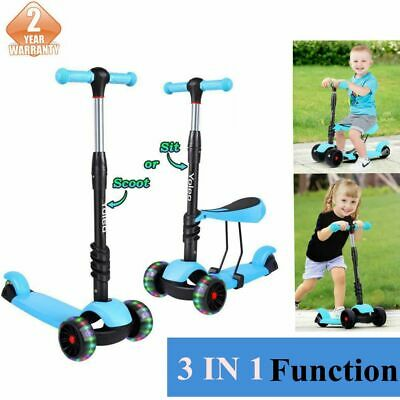 Yoleo Kids Outdoor Toy Push scooter 3 in 1 With Seat Flashing Wheels T-Bar Tilt