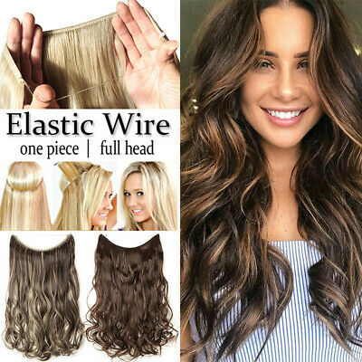 Women's Curly Wavy Straight Hair Extensions Elastic Wire Synthetic Hairpieces LO