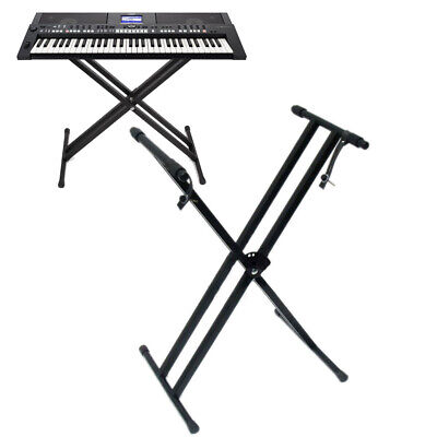 Iron Braced Keyboard Stand Electric Piano Stand Dual-tube X-Type Black