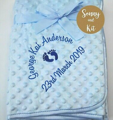 Personalised Baby Boy Blanket, Birth Details, Embroidered New Born Blue Gift