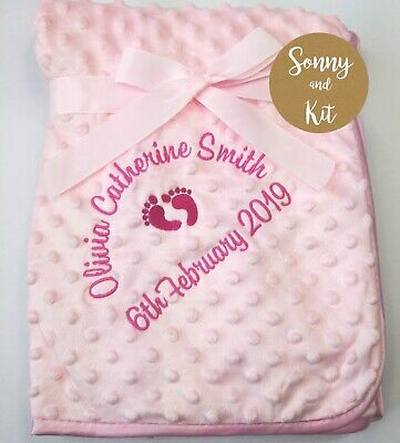 Personalised Baby Girl Blanket, Birth Details, Embroidered New Born Pink Gift