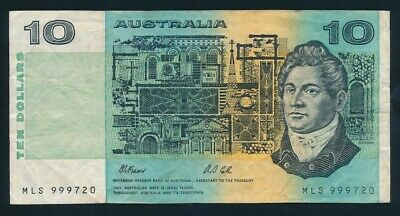 "Australia: LAST $10 Fraser-Cole With Plate Letter. RARE LUCKY NO. ""999"""