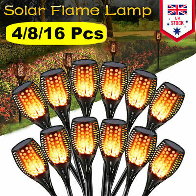 True Flame Solar Torch Light Warm white LED Flickering Stake Outdoor Garden uk