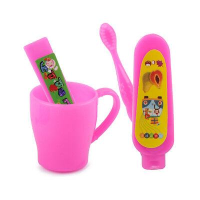Doll Accessories Sets Toothbrush Tooth Cup Toothpaste for Barbie DollhouseLH D9