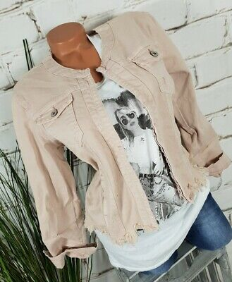 NEU ITALY ANGESAGTE KURZE JEANS JACKE PAILLETTEN DESTROYED  DENIM M 38 40