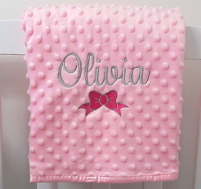 Personalised Baby Girl Name and Bow Blanket, Embroidered New Born Pink Gift