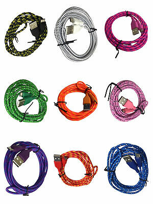 USB Braided Micro Cable Sync Charger Data Lead For Android Mobile Phones Samsung