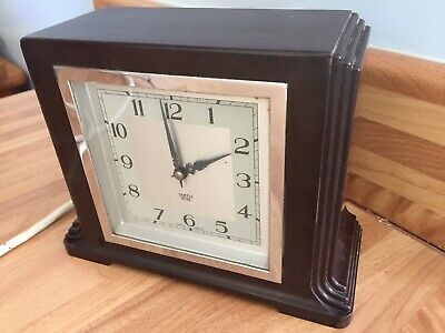 VGC Working Order Smiths Sectric Mains Electric Mantel Clock Chrome / Bakelite