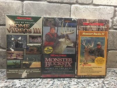 Lot of 3 REALTREE Monster Bucks VHS Tapes Including Home Videos III